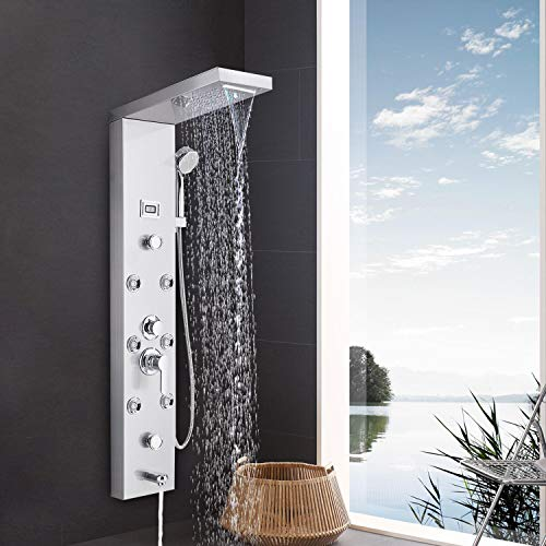 Suguword Edelstahl Duschsystem 5 Funktionen Duschpaneel Duschset, Duschsäulen aus rostfreiem Edelstahl mit handbrause,Wasserfall Regenduschkopf und Wanneneinlauf mit LED Temperaturanzeige