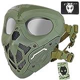 ATAIRSOFT De Protection Airsoft Militaire Tactique Paintball Visage Complet Ninja Crâne Masque De Maille avec PC Objectif Oeil pour...