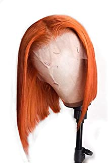 XSZM Hair Orange Bob Wig with Baby Hair Brazilian Straight Lace Front Wigs Humen Hair Pre Plucked 150% Density (12 Inch)
