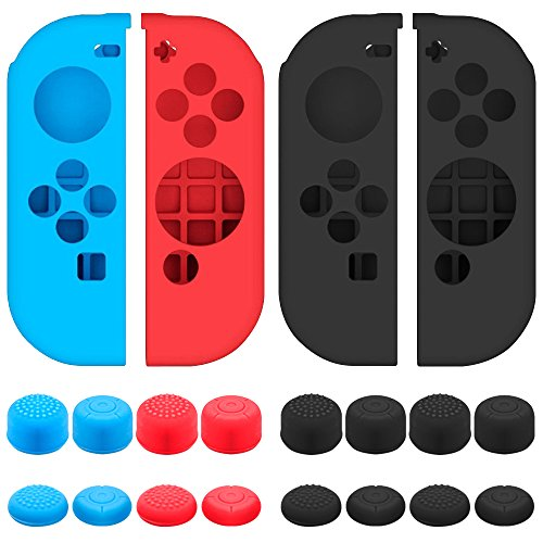 Senhai Funda Protectora para Nintendo Switch Joy-con con Tapa de Pulgar, Paquete de 2 Paquetes Anti-Deslizante de Silicona con 16 Almohadillas de Palo - Negro, Azul + Rojo