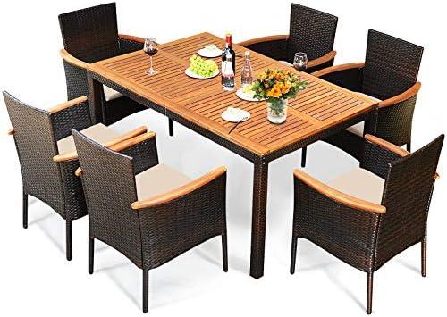 Tangkula 7 Pieces Patio Rattan Dining Set Outdoor Conversation Set w Acacia Wood Tabletop Umbrella product image