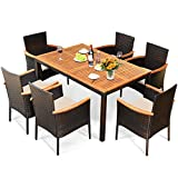 Tangkula 7 Pieces Patio Rattan Dining Set, Outdoor Conversation Set w/Acacia Wood Tabletop & Umbrella Hole, Stackable Chairs w/Soft Cushion, Table and Chair Set for Garden, Backyard (Beige)
