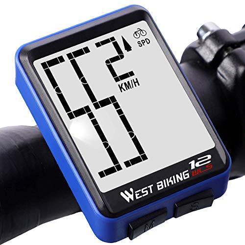 Lixada Fietscomputer Draadloos waterdicht snelheidsmeter fiets thermometer snelheid afstand tijd met LCD-achtergrondverlichting