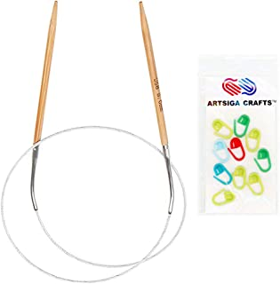 Artsiga Crafts Natures Bamboo Circular Knitting Needle Size 4.50mm/US 7 Tip-to-Tip Length 40 inches Metal Cable with 10 Stitch Markers and Resealable Pouch