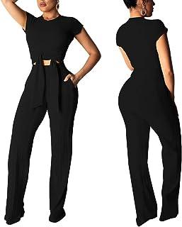 Women's Sexy 2 Piece Outfits - Short Sleeve Crop Top Wide Leg Pants Set Sweater Jumpsuits S XXL