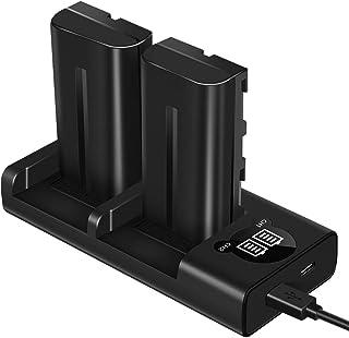 ESDDI NP-F550 Batería para cámara de Video Sony con Juego de Cargador de Doble Ranura para Sony R1 / TR11 TR1100E TR12 TR18 Sony CD-RV100 RV200 SC Series luz LED Bicolor