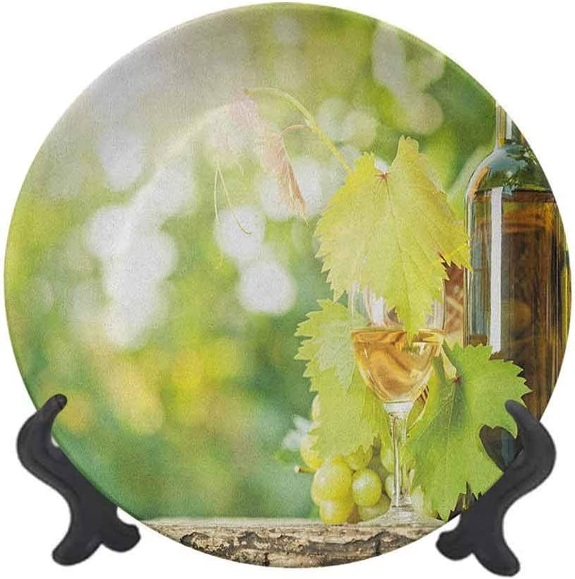 Plato decorativo de cerámica de 20,32 cm, para botella de vino blanco, vino y ramo de uvas en primavera verde, accesorio decorativo de pared para cenar, fiestas, bodas