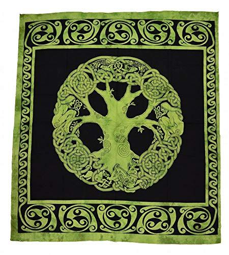 YGGDRASSIL keltische Tagesdecke, Wandbehang Farbe Grün