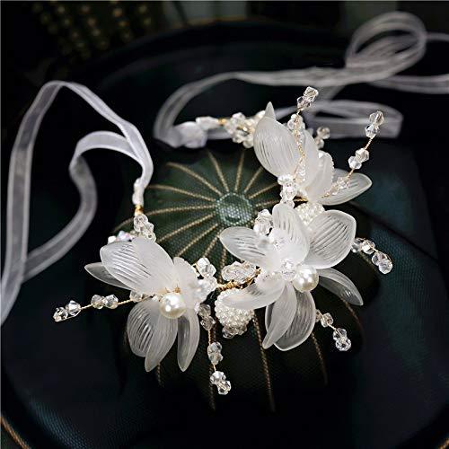 DINEGG 2020 Moda Boda Pulsera de la muñeca de Lujo Flor Hecho a Mano Flores 3D Pearls Flower Bridal Hand (Color: Blanco) QQQNE (Color : White)