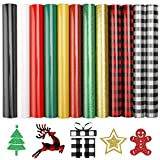 Heat Transfer Vinyl HTV 12pcs Christmas Buffalo Plaid Iron on Vinyl Includes a Teflon Sheet for T-Shirts Works and Christmas Gifts10in x 12in
