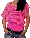 Smile Fish Women Casual Sexy 80s Costumes Fishnet Neon Off Shoulder T-Shirt (Hot Pink US 10/Tag Size L)