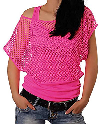 Smile Fish Women Casual Sexy 80s Costumes Fishnet Neon Off Shoulder T-Shirt (Hot Pink US 2-4/Tag Size S)
