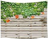 Rustikale Gartenszene Tapisserie, Blume Blätter Pflanze auf ländlichen Holzbrett Gartenzaun Tapisserie Wandbehang, Tapisserie Wanddecken Decke 60X40 in