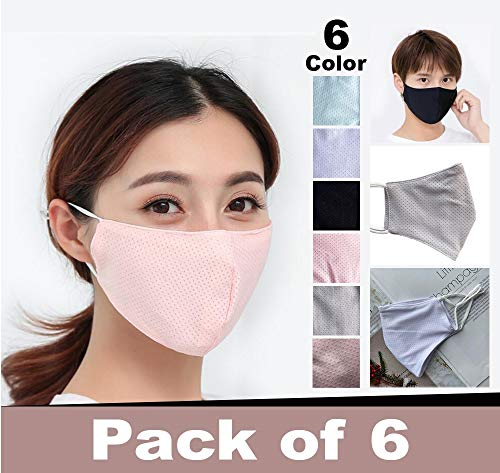 6PCS Summer Ice Silk Face Mask Protect 2 Layers Breathable Washable and Reusable, Bandanas Haze Dust Protect For Man and…