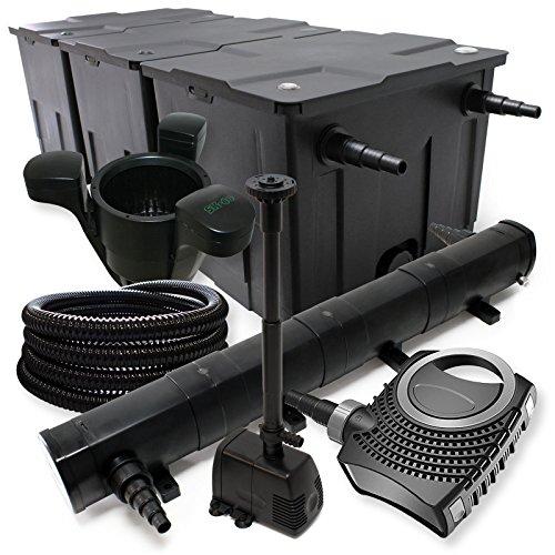 Filterset: Bio vijverfilter tot 90000l, UV-zuiveraar met 72W, 80W pomp, slang en fonteinpomp