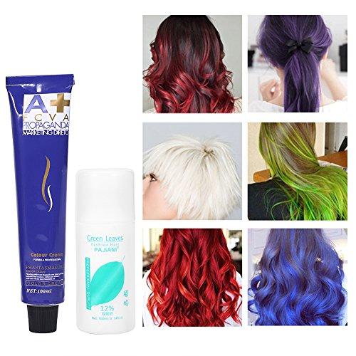 6 colores 100ml / botella de moda de color natural que labra la crema del tinte de pelo con leche doble del oxígeno(rojo)