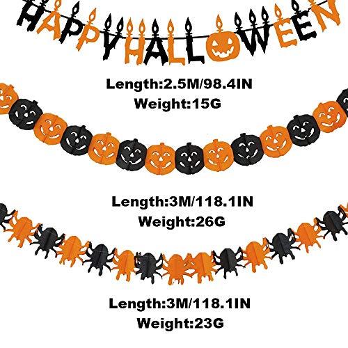 Halloween Decorazioni, Bst4U Banner di Lettere, Banner di Zucca, Banner di Ragno, Panno Nero, Ragnatela, Palloncino, Mago Gatto Nero, Puntello Fotografico (42 PCS)