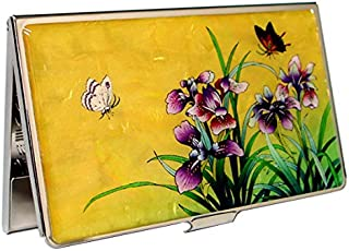 Antique Alive Mother of Pearl Orchid Design Yellow Business Credit Case Metal Stainless Steel Engraved Slim Purse Pocket Cash Money Wallet (B125)
