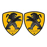 RACING DIRECT - Adesivo per Peugeot Sport giallo, set di 2 adesivi con logo, accessorio decorativo per auto per 206 207 208 307 308 107 5008