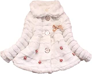 Runyue Baby Girls Kids Faux Fur Warm Thick Winter Coat Elegant Jacket Outwear for 3-7 Years Old