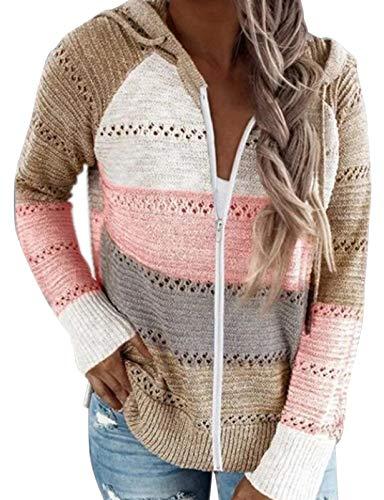 heekpek Suéter para Mujer Mangas Largas Bloque de Color Sudadera con Capucha Suelta
