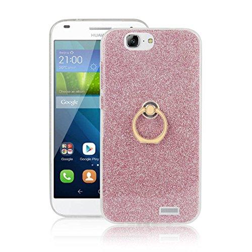 pinlu Funda Para Huawei Ascend G7 (5.5pulgada) Anti-Arañazos Función Flash Brillante Suave TPU Silicona Case Ultra Delgada Hebilla del Anillo Soporte Diseño Rosa