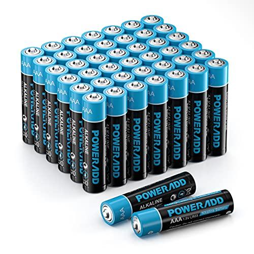 Batterien AAA, Micro Alkaline Batterien AAA 44 Stück, LR03 1,5 V, 10 Jahre Haltbarkeit für Spielzeug Taschenlampe Controller und Uhr