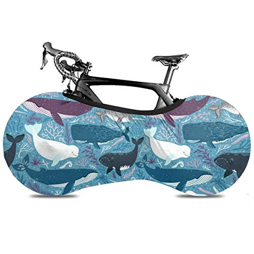 Dollar Banknotes Cubierta de Bicicleta Portátil Interior Anti Polvo Alta Elástica Cubierta de Rueda de Bicicleta Protector Rip Stop Neumático Carretera MTB Bolsa de Almacenamiento, Gris (Whale), talla única
