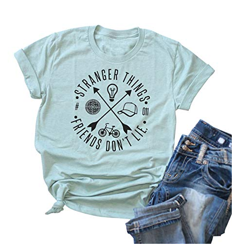 Friends Don't Lie Tshirt Womens Graphic Tees Vintage T-Shirts for Teen Girls (M, Blue#)