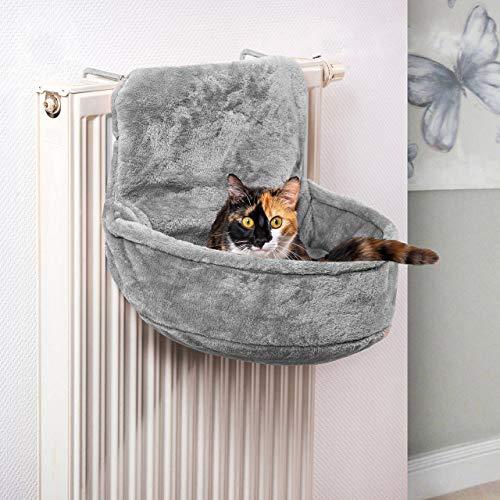 CanadianCat Company ® | Kuschelsack für Heizkörper | Grau | 45x13x33cm | Liegemulde für Katzen | verstellbare Bügel