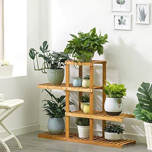 Porte-fleurs Bamboo Landing Multi-layer Rack pour succulentes intérieur Support pour balcon (taille : 98 * 28 * 80cm)