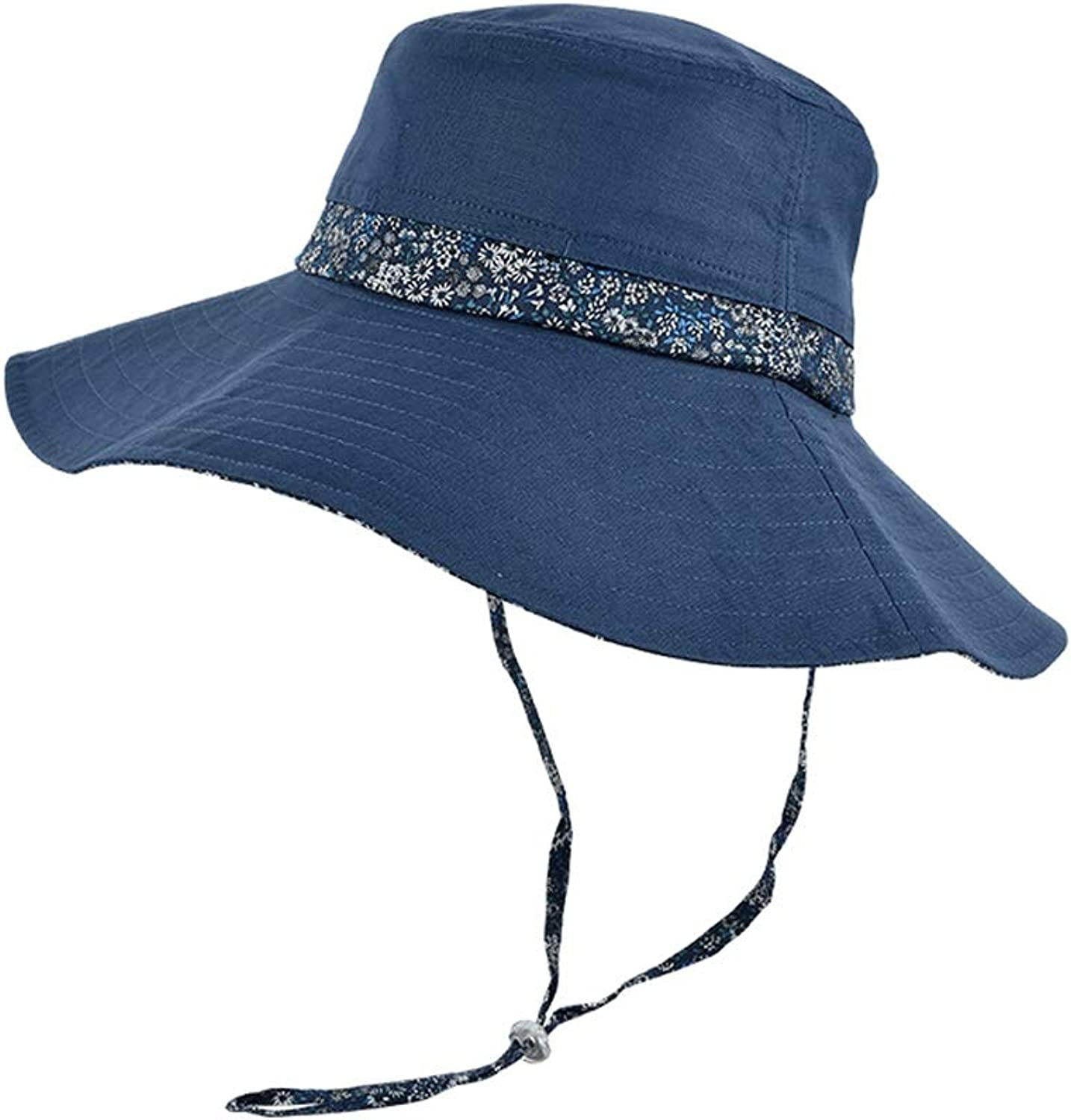 Sunhat Ladies Sun Hat Folding Travel Beach Hat, Sun Predection Outdoor Sports Hat, Bucket Cap (2 colors Optional) (color   bluee)