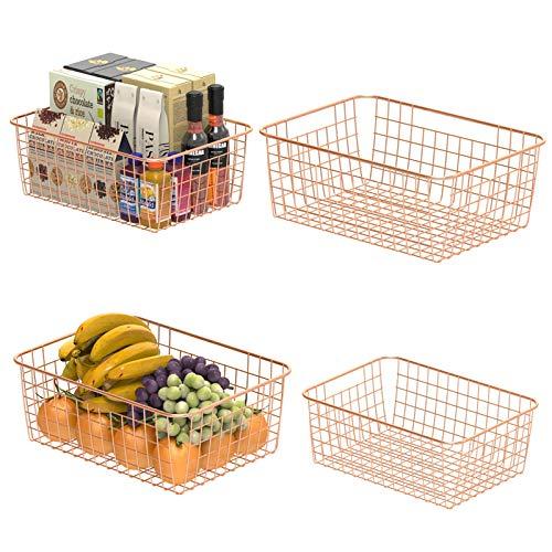 Wire Storage Basket, F-color 4 Pack Metal Household Storage Organizer Bin with 4 Built-in Handles for Pantry, Shelf, Freezer, Kitchen Cabinet, Bathroom, Large Medium, Rose Gold