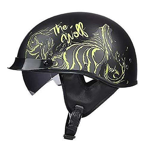 ZLYJ Brain-Cap Half-Shell Jet Helmet Casco De Motocicleta, Matt Black Retro Motorcycle Half Casco con Visera De Caída Lucky Skull, Certificación ECE A,M