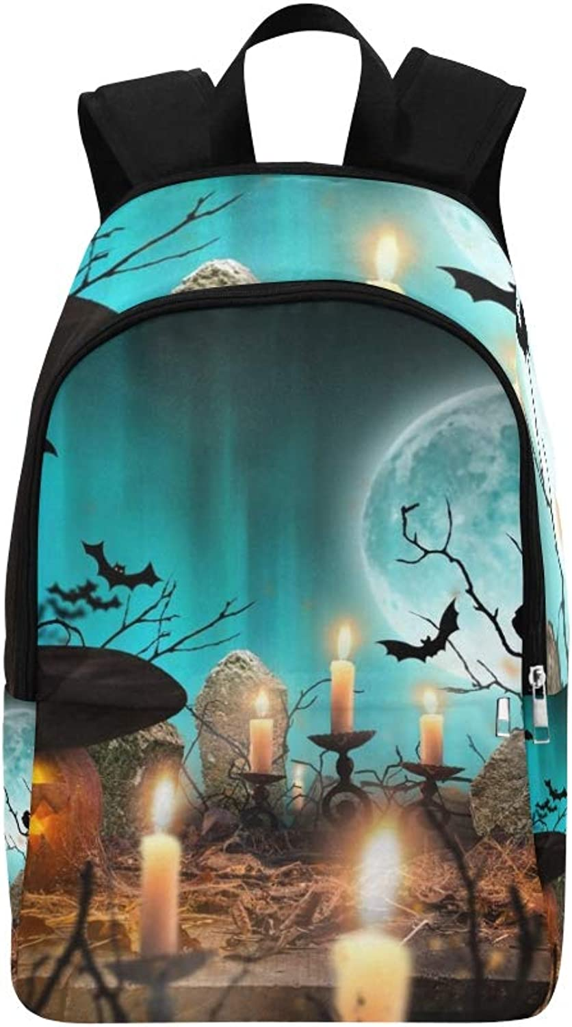 Halloween Pumpkins On Wooden Planks blueee Casual Daypack Travel Bag College School Backpack for Mens and Women