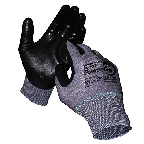 KORECA POWERGRIP GRAY, Nitrile foam coated working gloves, Seamless Knit, Ergonomic Design, Ideal for General Duty, Size L, 20-Pairs