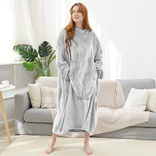 Fomoom Wearable Blanket, Cozy Blanket Hoodie, Oversized Sweatshirt Fleece Flannel Blanket with Large Front Pocket for Adults, Men, Women, Teens (Light Gray, Adult)