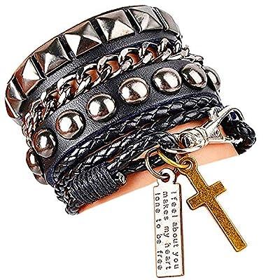 Y-blue Multilayer Bracelet Fashion Punk Leather Woven Braided Cross Bangle Wrist Cuff Wristband