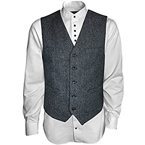 Men's Irish Vest Full Back Grey Herringbone Wool Blend Tweed Vest