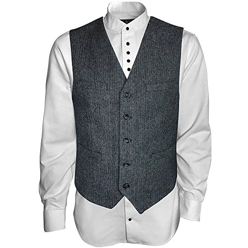 Men's Irish Vest, Full Back Grey Herringbone Tweed Wool Blend (L)