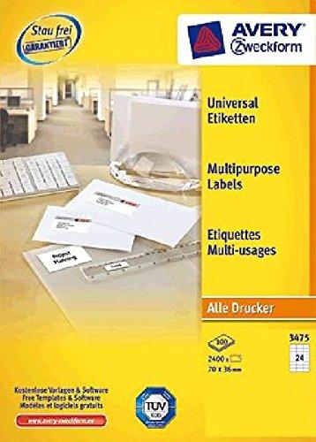 AVERY Zweckform Etiketten Inkjet/Laser/Kopier 70x36mm weiß VE=2400 Stück