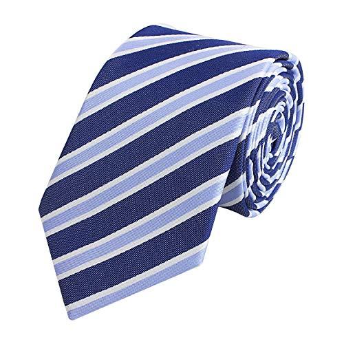 Fabio Farini - Cravate 6cm largeur homme avec rayures étroite bleu blanc
