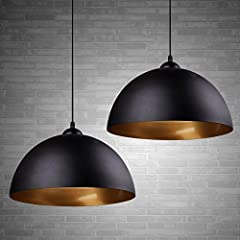 【Vintage Pendant Light】2 pcs black pendant lampshade with elegant and industrial vintage design to create a pleasant atmosphere for your room. 【E27 Base】The black pendant lamp are made of high standard metal material; Compatible with incandescent, LE...