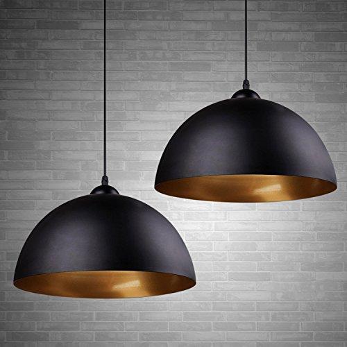 """2 x Modern Industrielle Pendelleuchte - MOTENT minimalistisch Vintage Hängeleuchter 11,81\"""" Breite Lampe Kronleuchter aus Eisen Hängelampe E27 Lampenfassung Deckenleuchte für Küchen Keller"""