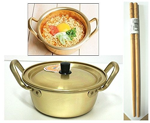 Korean Noodle Pot Hot Shin Ramyun Aluminum 6.3(16cm) + SoltreeBundle Natural Bamboo Chopstick (1 Pairs) by SoltreeBundle