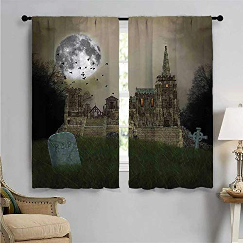 SUZM Window Curtain Drape, Old Village and Grave, Decorative Curtains for Living Room W72 x L45 Inch