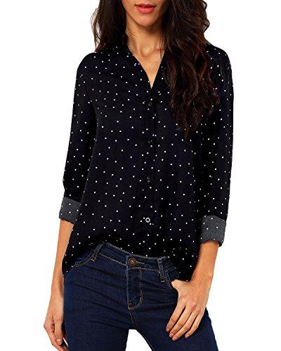 Auxo - Camiseta de manga larga para mujer, cuello en V, para verano, para la playa Negro XL