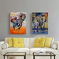現代の動物の落書きアート象キャンバス絵画壁アートポスターとリビングルームのプリント壁の写真の装飾ホームクアドロス-40x60cmx2フレームなし