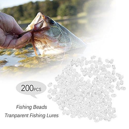 Lixada 200pcs Pesca Perlas Transparente Doble Agujero Cruz Cuentas Duro Claro Cuentas Conjuntos