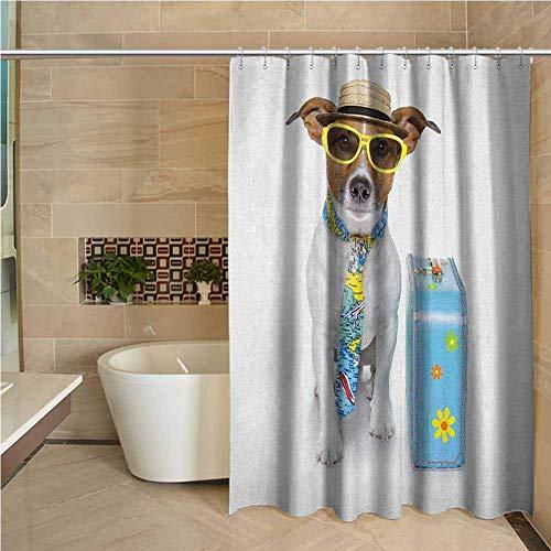 N\A Cortina de Ducha de Granja Perro Viajero Perro Gracioso Disfrazado de turista con Sombrero, Gafas, Corbata y una Maleta Floral Multicolor